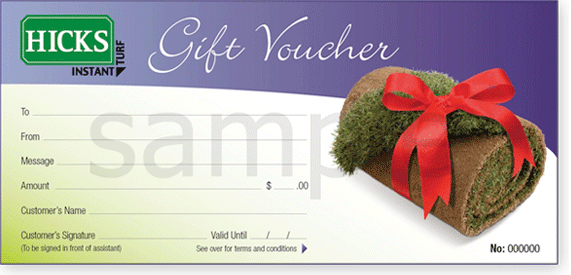 Hicks Turf Gift Voucher Sample
